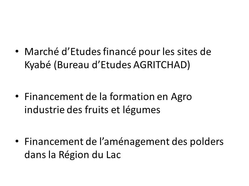Marché d'Etudes financé pour les sites de Kyabé (Bureau d'Etudes AGRITCHAD)