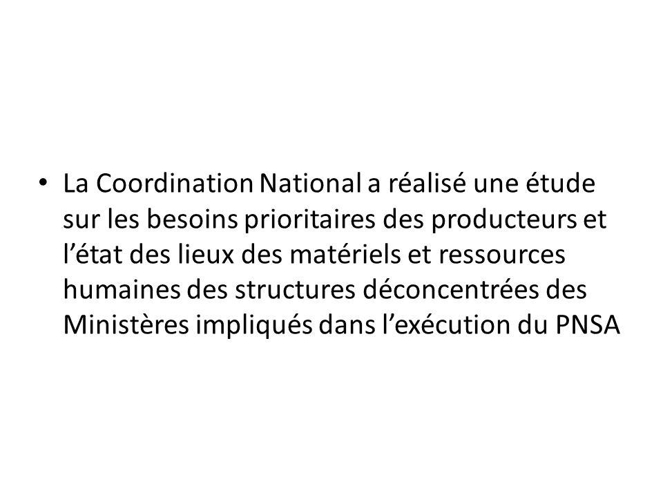 La Coordination National a réalisé une étude sur les besoins prioritaires des producteurs et l'état des lieux des matériels et ressources humaines des structures déconcentrées des Ministères impliqués dans l'exécution du PNSA