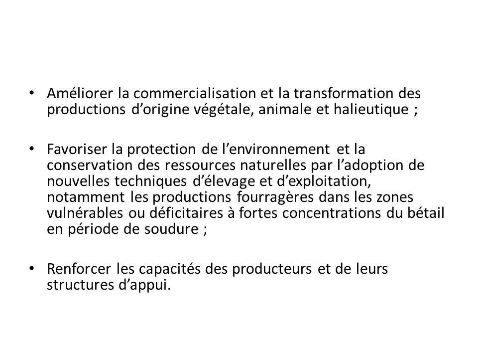 Améliorer la commercialisation et la transformation des productions d'origine végétale, animale et halieutique ;