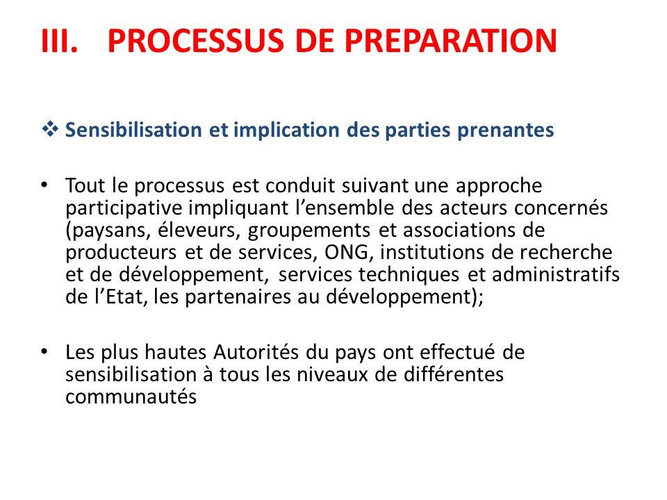 III. PROCESSUS DE PREPARATION