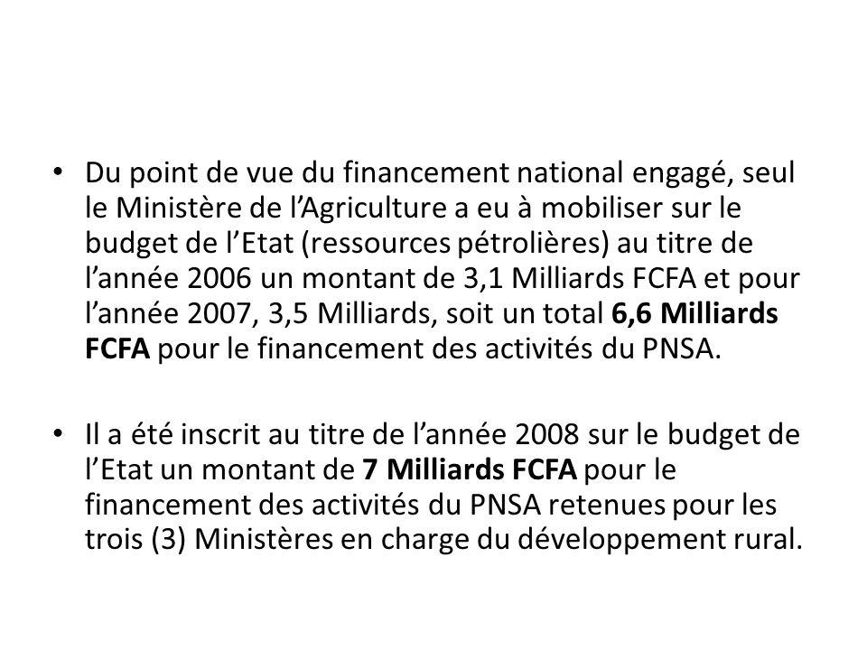 Du point de vue du financement national engagé, seul le Ministère de l'Agriculture a eu à mobiliser sur le budget de l'Etat (ressources pétrolières) au titre de l'année 2006 un montant de 3,1 Milliards FCFA et pour l'année 2007, 3,5 Milliards, soit un total 6,6 Milliards FCFA pour le financement des activités du PNSA.