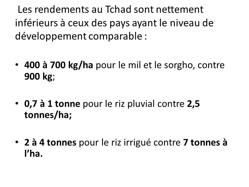 400 à 700 kg/ha pour le mil et le sorgho, contre 900 kg;