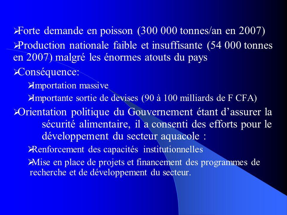 Forte demande en poisson (300 000 tonnes/an en 2007)