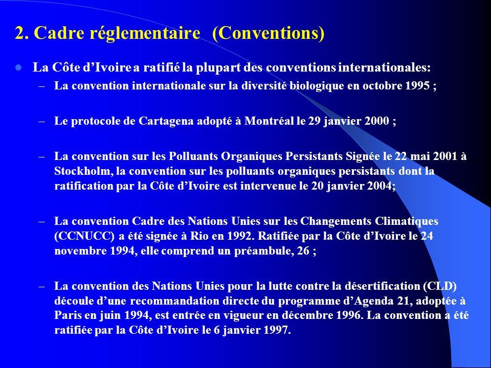2. Cadre réglementaire (Conventions)