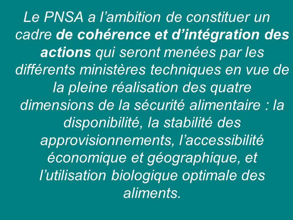 Le PNSA a l'ambition de constituer un cadre de cohérence et d'intégration des actions qui seront menées par les différents ministères techniques en vue de la pleine réalisation des quatre dimensions de la sécurité alimentaire : la disponibilité, la stabilité des approvisionnements, l'accessibilité économique et géographique, et l'utilisation biologique optimale des aliments.