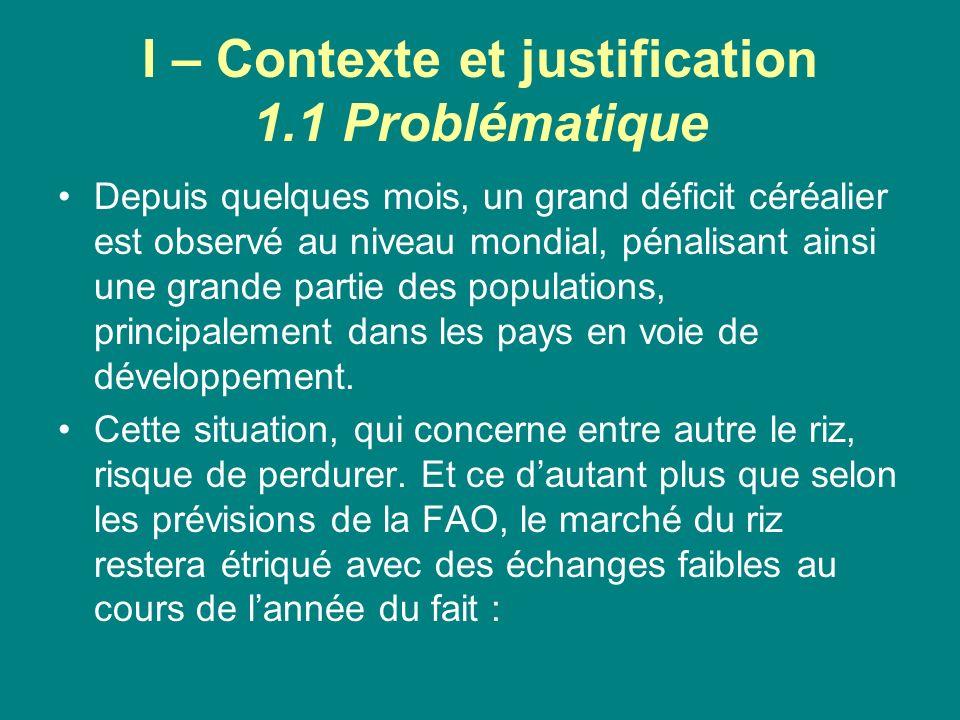 I – Contexte et justification 1.1 Problématique