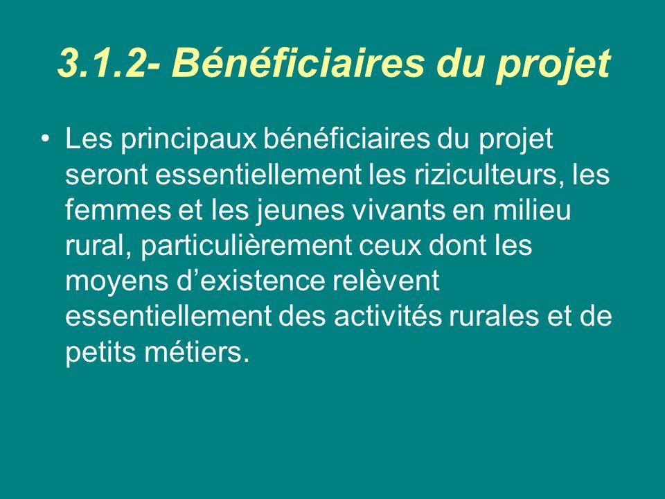3.1.2- Bénéficiaires du projet