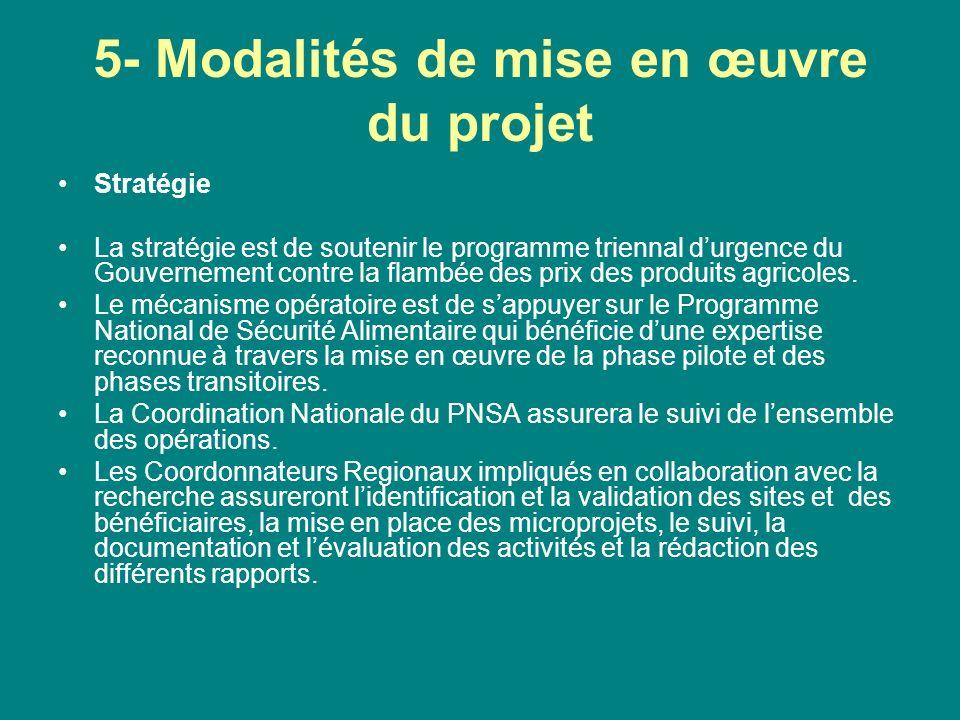 5- Modalités de mise en œuvre du projet