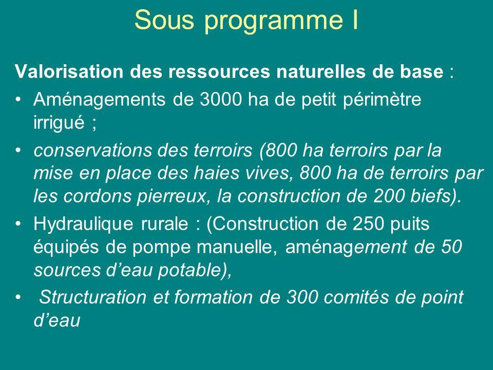Sous programme I Valorisation des ressources naturelles de base :