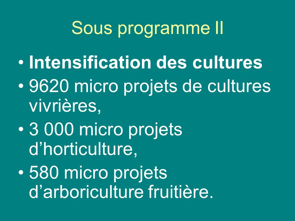 Sous programme IIIntensification des cultures. 9620 micro projets de cultures vivrières, 3 000 micro projets d'horticulture,