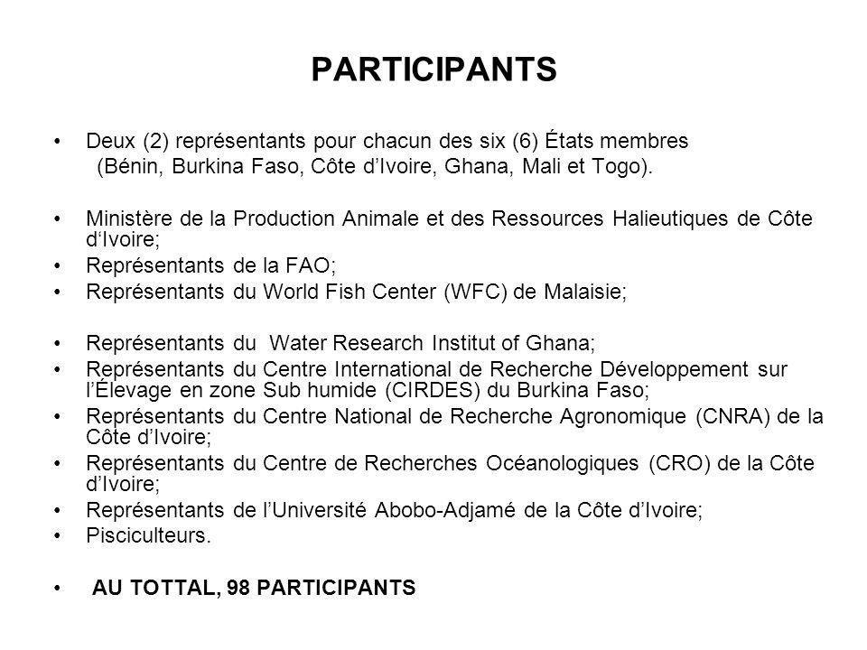 PARTICIPANTS Deux (2) représentants pour chacun des six (6) États membres. (Bénin, Burkina Faso, Côte d'Ivoire, Ghana, Mali et Togo).
