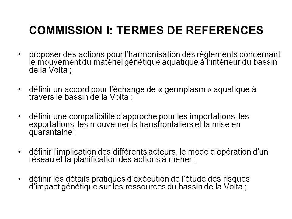 COMMISSION I: TERMES DE REFERENCES