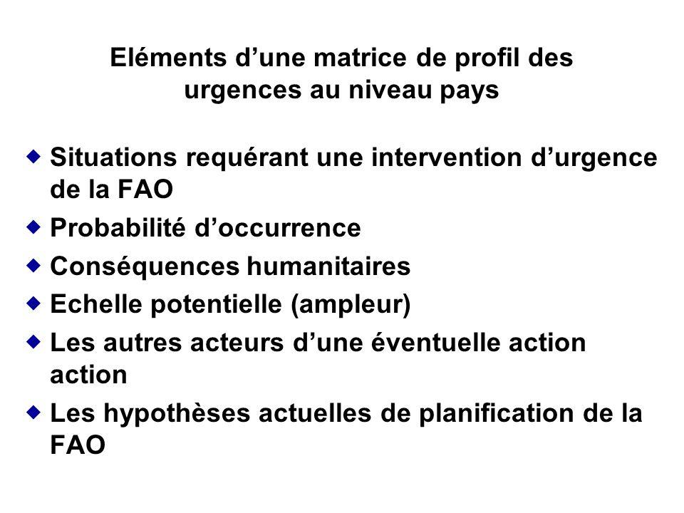 Eléments d'une matrice de profil des urgences au niveau pays