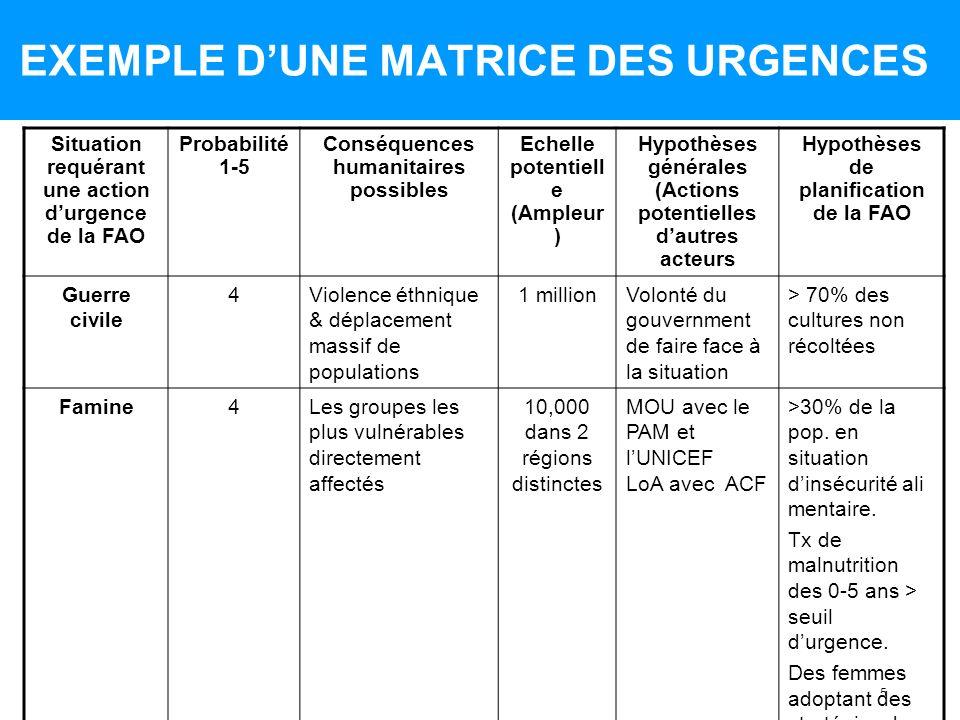 EXEMPLE D'UNE MATRICE DES URGENCES
