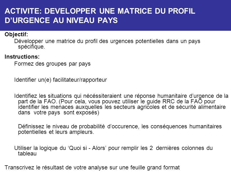 ACTIVITE: DEVELOPPER UNE MATRICE DU PROFIL D'URGENCE AU NIVEAU PAYS