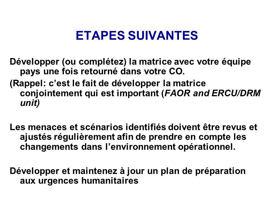 ETAPES SUIVANTES Développer (ou complétez) la matrice avec votre équipe pays une fois retourné dans votre CO.