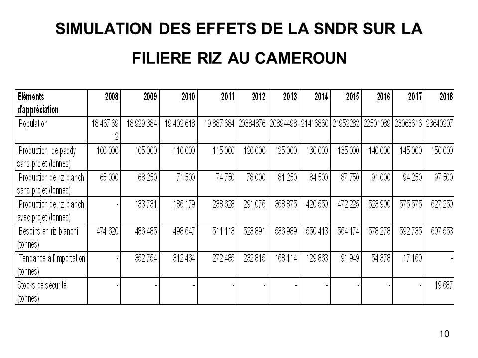SIMULATION DES EFFETS DE LA SNDR SUR LA FILIERE RIZ AU CAMEROUN