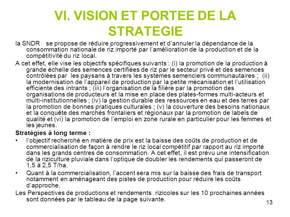 VI. VISION ET PORTEE DE LA STRATEGIE
