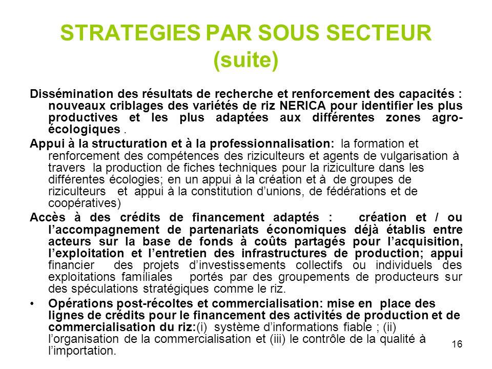 STRATEGIES PAR SOUS SECTEUR (suite)