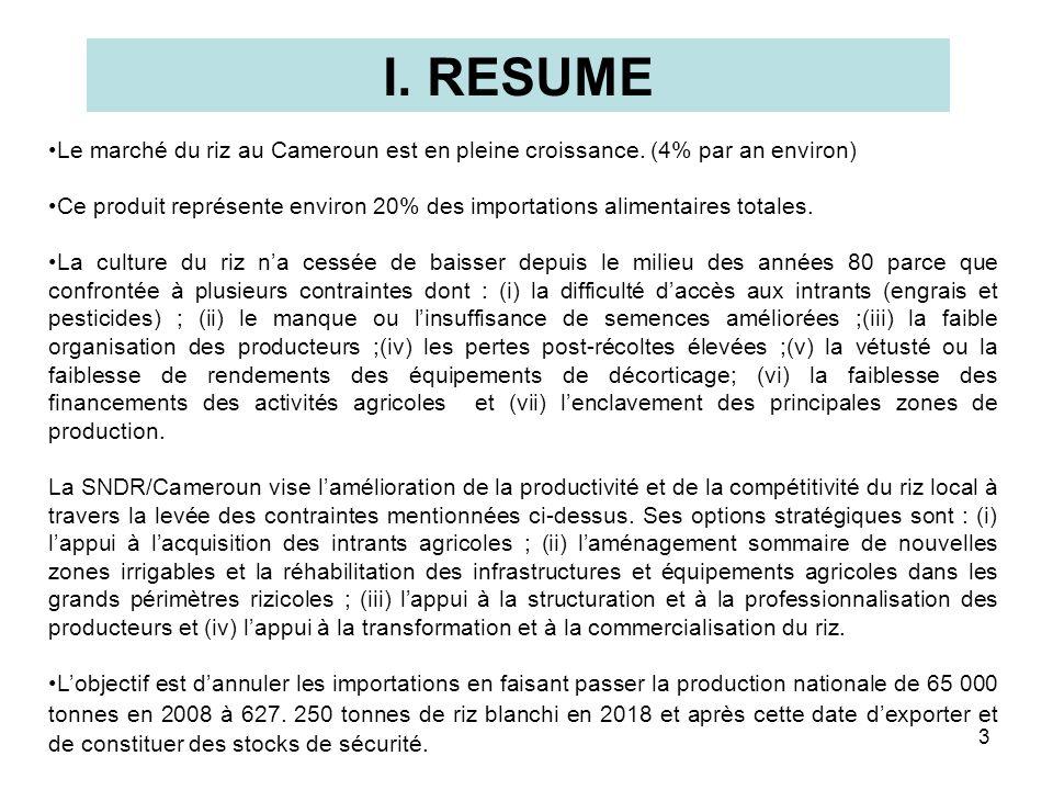 I. RESUME Le marché du riz au Cameroun est en pleine croissance. (4% par an environ)