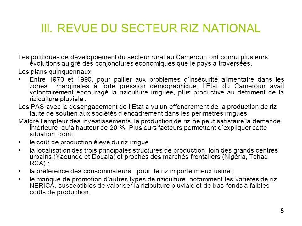 III. REVUE DU SECTEUR RIZ NATIONAL
