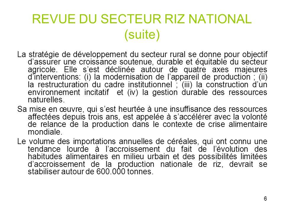 REVUE DU SECTEUR RIZ NATIONAL (suite)