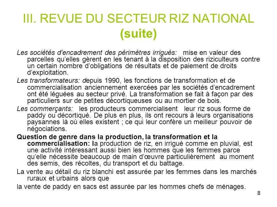 III. REVUE DU SECTEUR RIZ NATIONAL (suite)