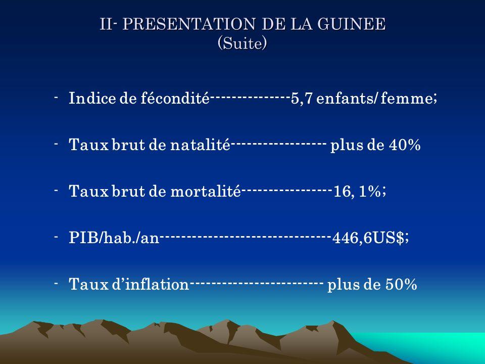 II- PRESENTATION DE LA GUINEE (Suite)