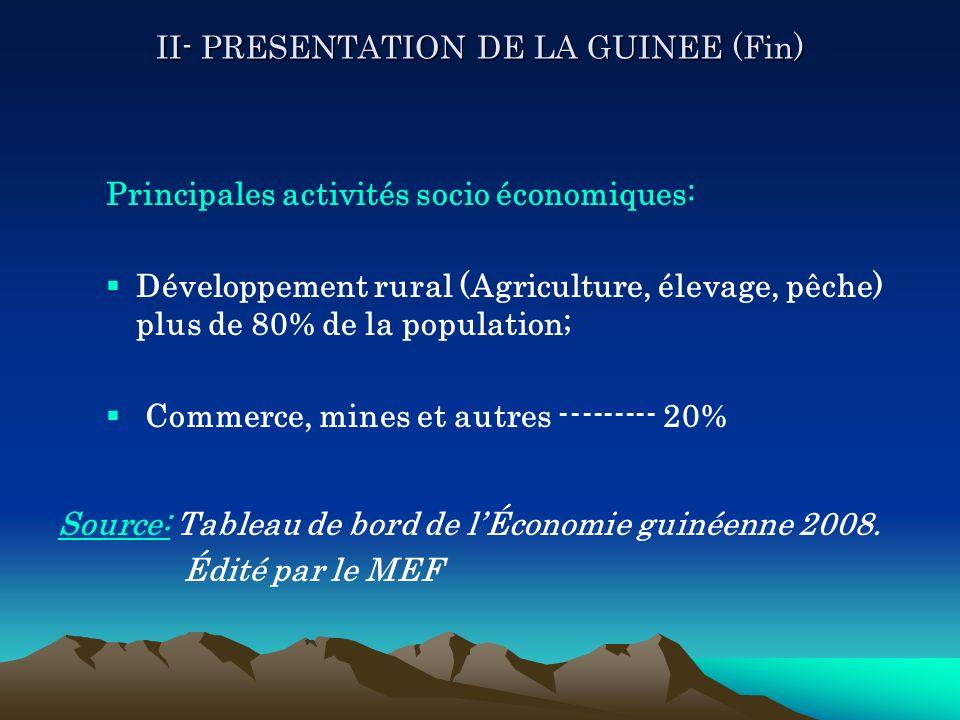II- PRESENTATION DE LA GUINEE (Fin)