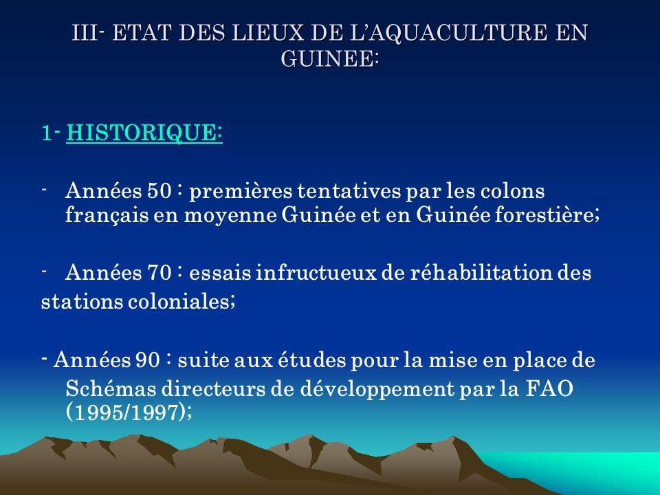 III- ETAT DES LIEUX DE L'AQUACULTURE EN GUINEE: