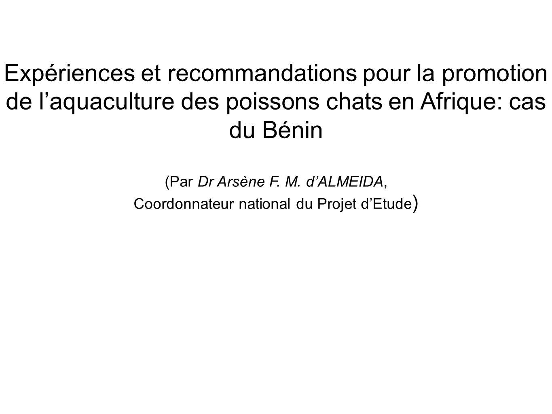 Expériences et recommandations pour la promotion de l'aquaculture des poissons chats en Afrique: cas du Bénin
