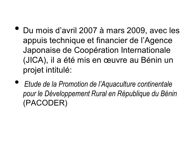Du mois d'avril 2007 à mars 2009, avec les appuis technique et financier de l'Agence Japonaise de Coopération Internationale (JICA), il a été mis en œuvre au Bénin un projet intitulé: