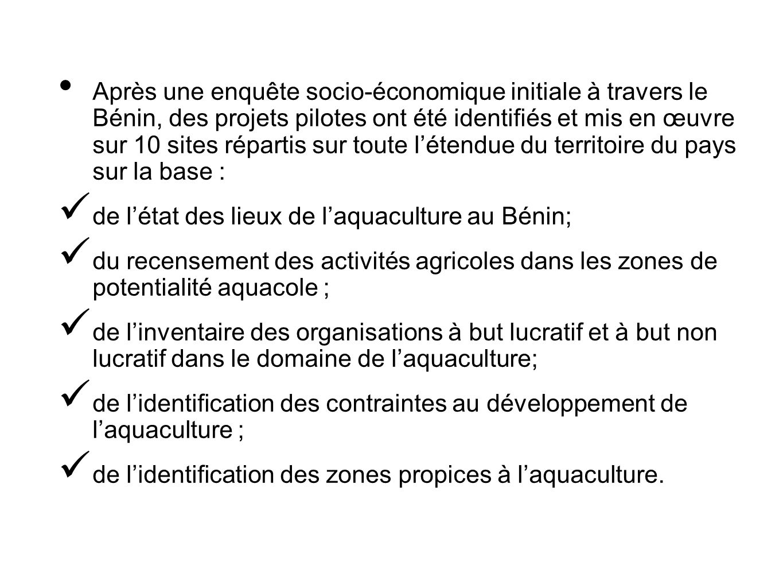 Après une enquête socio-économique initiale à travers le Bénin, des projets pilotes ont été identifiés et mis en œuvre sur 10 sites répartis sur toute l'étendue du territoire du pays sur la base :