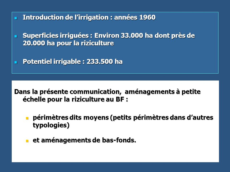 Introduction de l'irrigation : années 1960