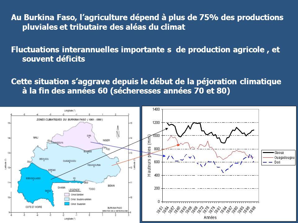 Au Burkina Faso, l'agriculture dépend à plus de 75% des productions pluviales et tributaire des aléas du climat