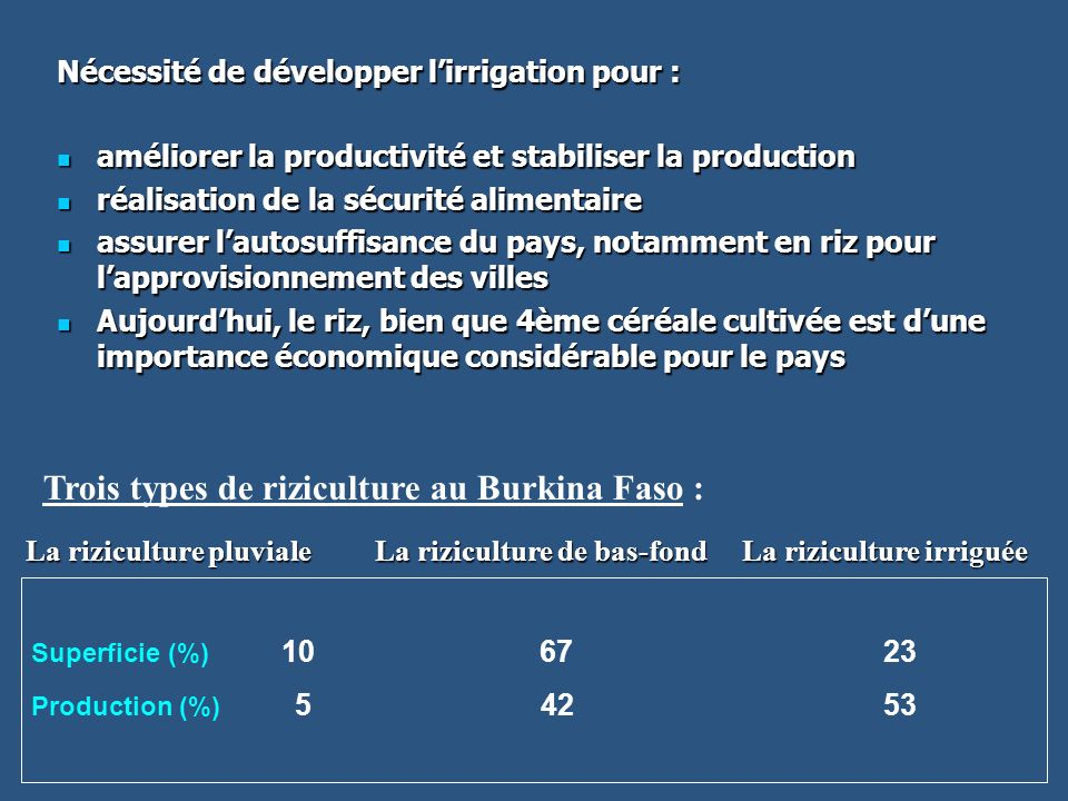 Trois types de riziculture au Burkina Faso :