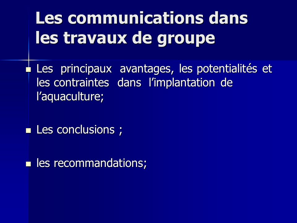 Les communications dans les travaux de groupe