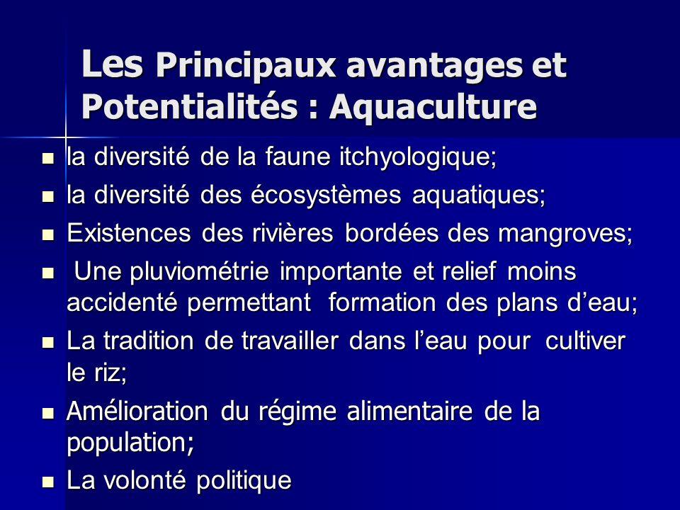 Les Principaux avantages et Potentialités : Aquaculture