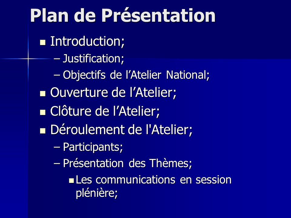 Plan de Présentation Introduction; Ouverture de l'Atelier;