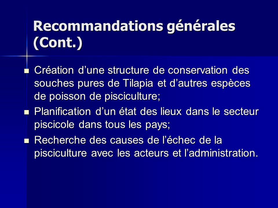 Recommandations générales (Cont.)