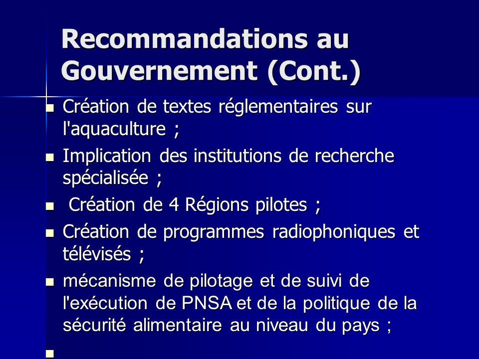 Recommandations au Gouvernement (Cont.)