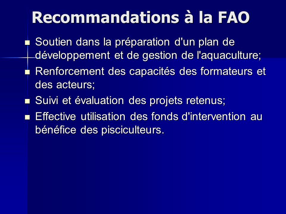 Recommandations à la FAO