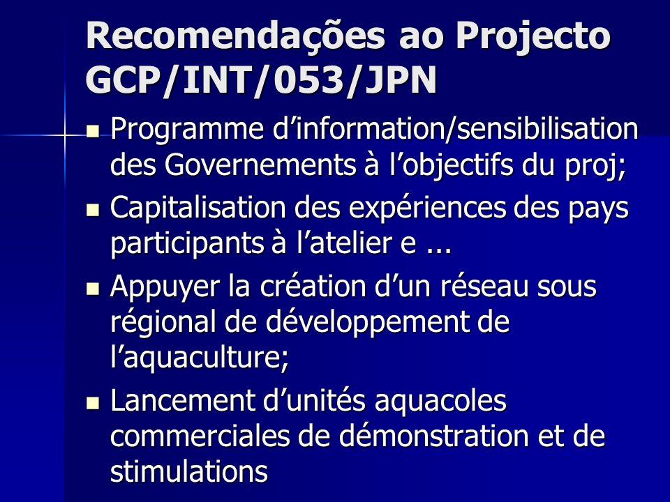 Recomendações ao Projecto GCP/INT/053/JPN
