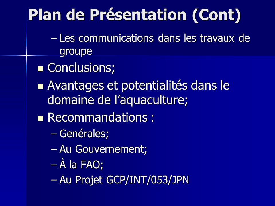Plan de Présentation (Cont)