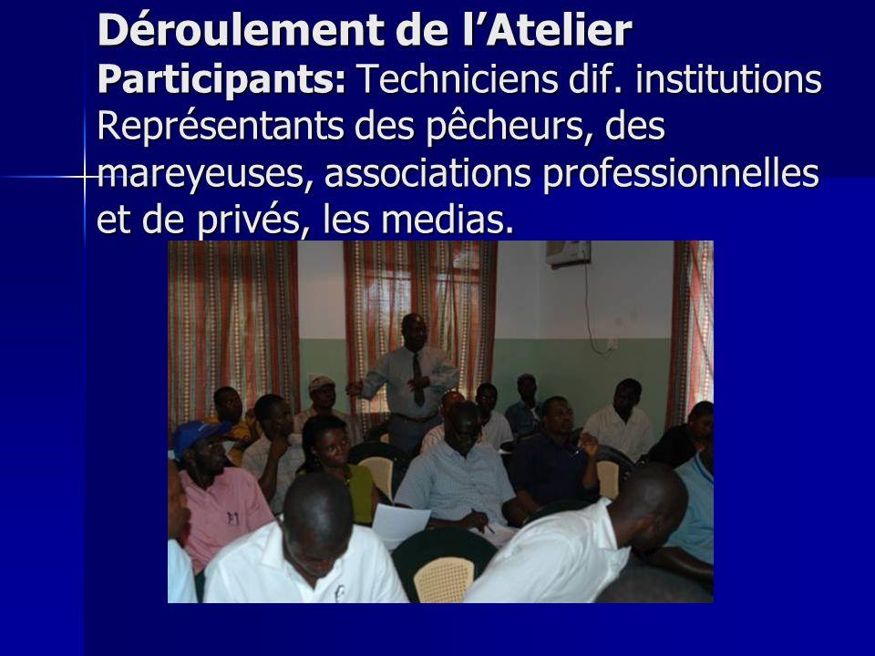 Déroulement de l'Atelier Participants: Techniciens dif