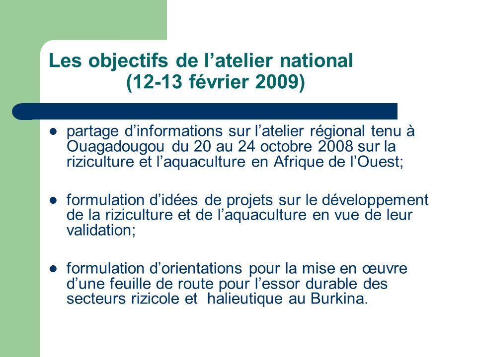 Les objectifs de l'atelier national (12-13 février 2009)