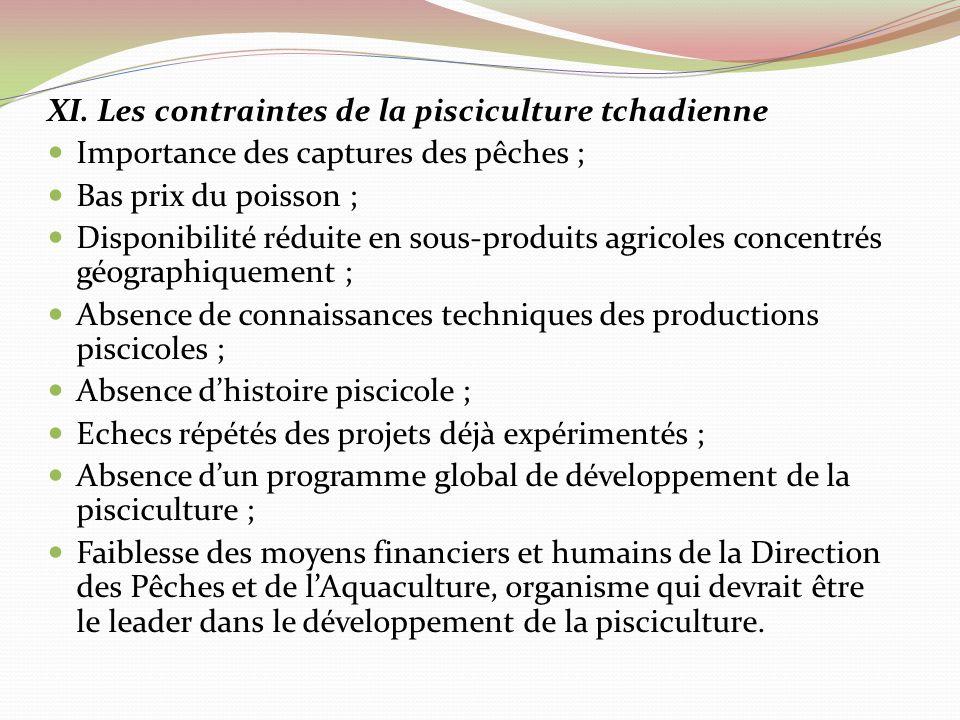 XI. Les contraintes de la pisciculture tchadienne