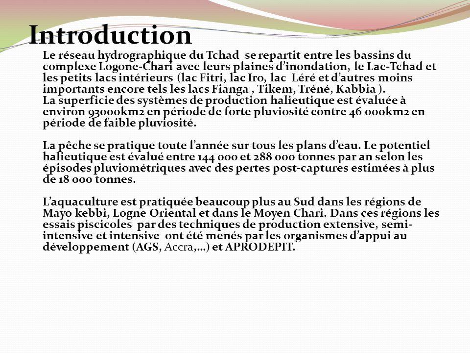 Introduction Le réseau hydrographique du Tchad se repartit entre les bassins du complexe Logone-Chari avec leurs plaines d'inondation, le Lac-Tchad et les petits lacs intérieurs (lac Fitri, lac Iro, lac Léré et d'autres moins importants encore tels les lacs Fianga , Tikem, Tréné, Kabbia ).