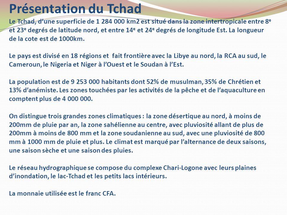 Présentation du Tchad Le Tchad, d'une superficie de 1 284 000 km2 est situé dans la zone intertropicale entre 8e et 23e degrés de latitude nord, et entre 14e et 24e degrés de longitude Est.