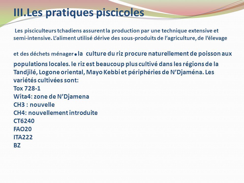 III.Les pratiques piscicoles Les pisciculteurs tchadiens assurent la production par une technique extensive et semi-intensive.